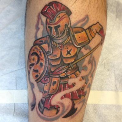 Spartan Warrior Done by Kyle Behr at Integrity Tattoo, Royersford PA. more work at Instagram, Inkbear