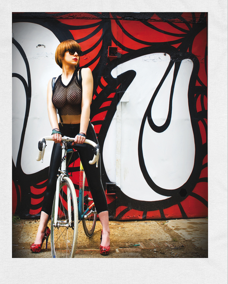 "sexycyclists:  brixtonnihilistcyclingclub:  Minchia…  Babe on bike wears ""The Hannah"""