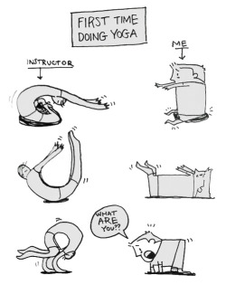 the-absolute-funniest-posts:  thefrogman: First time doing yoga by David Somerville [website]