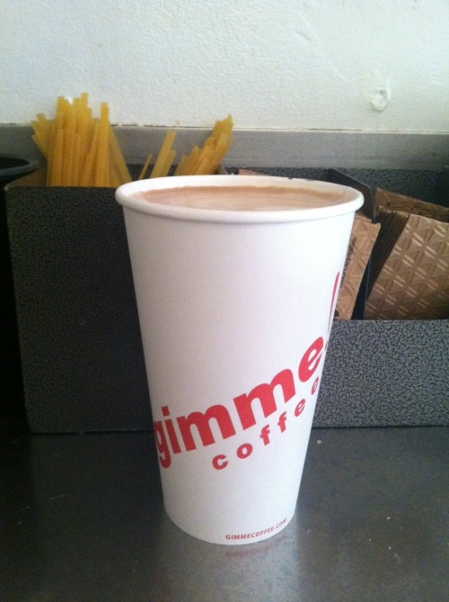 Fettuccine as coffee stirrers at Gimme Coffee-so smart! Little things make a big difference! BTW can we stop overusing those cardboard hand protectors?