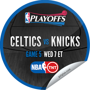 I just unlocked the 2013 NBA Playoffs: Celtics vs. Knicks #5 sticker on GetGlue                      1885 others have also unlocked the 2013 NBA Playoffs: Celtics vs. Knicks #5 sticker on GetGlue.com                  You are now watching game 5 of Boston Celtics  vs. New York Knicks in the 2013 NBA Playoffs Conference Finals on TNT. Thank you for tuning in and enjoy.  Share this one proudly. It's from our friends at Turner Sports.