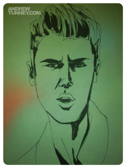 Justin Bieber (again). What's with the frowns bro? Pen, brush pen, moleskine.