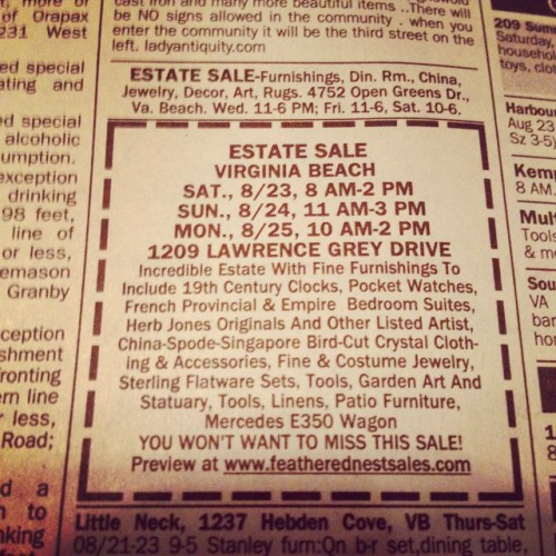 """This is a unreal sale!  """"Come Feather Your Nest"""" 1209 Lawrence Grey Drive, VB!  See ad in today's VA Pilot! @featherednestvb #lovevb #estatesales #itemsforsale #757 #hrvb #furniture #pocketwatches"""