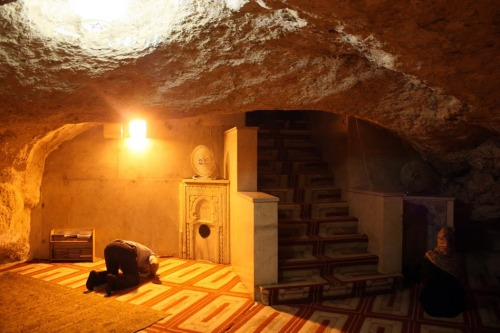 "palestinianliberator:  Inside the cave underneath the Dome of the Rock [the ""Rock"" portion] In the Islamic faith, this is the location from which it is believed that the Prophet Muhammad [SaW] ascended to Heaven with the angel Gabriel"