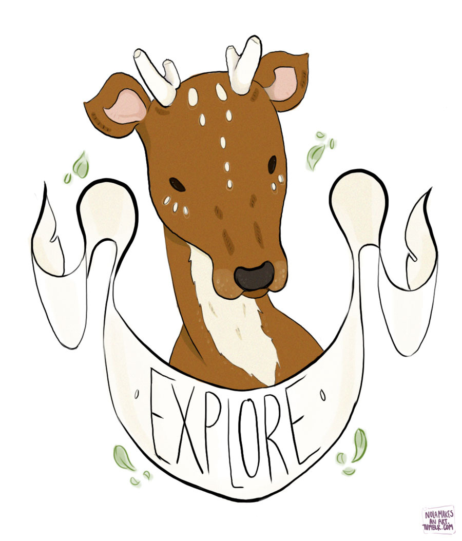 """Explore"" Deer Sticker, check it out on my Big Cartel shop, http://nolamakesanart.bigcartel.com, help a poor college sister out!  $3.50 per 3"" sticker"