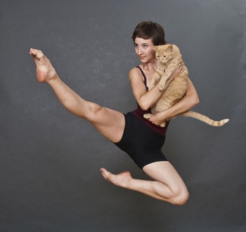 adrienehughes:  O.M.G.my-esl-student:  I'm teaching the cat how to dance.  I have taught it by words in the beginning, but it didn't go well.  I changed my teaching method.  I'm going to dance with him until he memorize it.