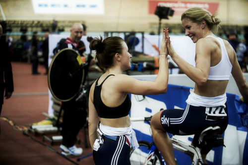 Vicky Williamson and Becky James, Track World Championships 2013 - by britishcycling.org.uk More photos from the Track World Champs by British Cycling