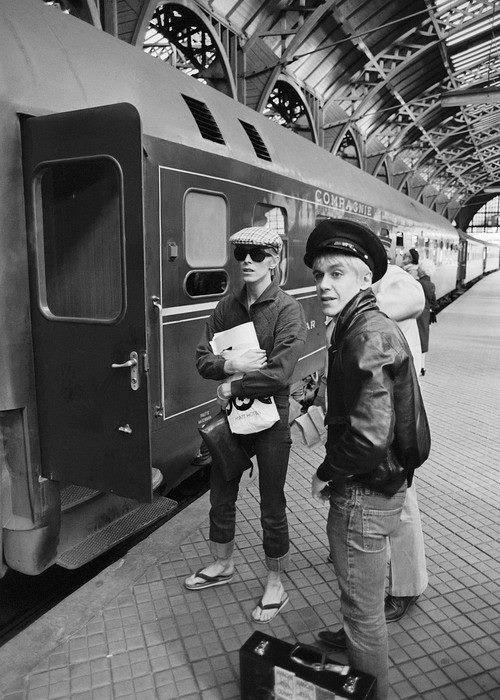 David Bowie  & Iggy Pop Copenhagen Train Station 1976  Photography Credit Unknown
