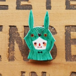 Sea Green Rabbit Shrink Plastic Brooch  www.etsy.com/shop/minifanfan  #etsy #shrink #plastic #handmade #cute #wearable #brooch #rabbit #sea #green