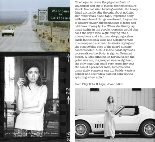 Finally read Joan Didion's Play It As It Lays and it's nothing short of amazing. She has such an evocative way with capturing imagery and feeling with her words, like the passage above about the main character Maria's getaway to Vegas. It's heady, heavy prose full of ennui, sadness, and so much beauty. Here's a great link I found to her essays and here to more photos of the author.