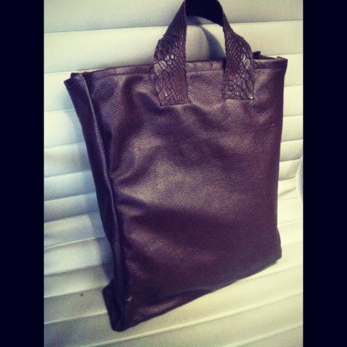 Leather/croc tote