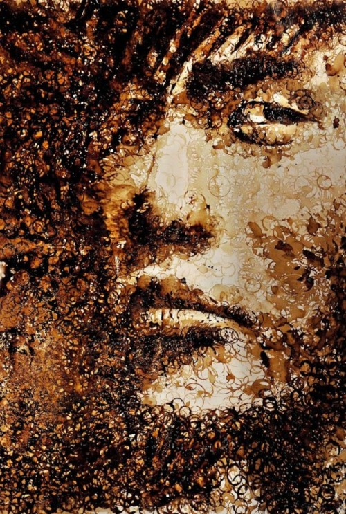 titlefightclub:  iu2:  Coffee stain portrait by Hong Yi  are you serious  I bet it smells delicious