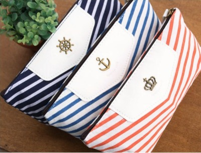 Stripes Canvas Pen Case Design: (From Left) Dark Blue | Pale Blue | Bold Orange Type: Pen/Pencil Case Dimension: 18 * 8 cm Made of good quality canvas. Each design has its own metal embellishment! Take your pick. Very nice colour scheme   SGD$10.00 Mailing List Members: SGD$8.90   Detail: