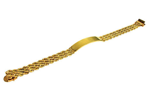 "Classic gold ID bracelet with triple rope chain sides and thick gold center. Marked ""14K"" on clasp. Weight, 23.9 dwts. by Ruby + George on One Kings Lane Vintage and Market Finds"