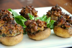 gastrogoodies:  Sausage and Basil Stuffed Mushrooms