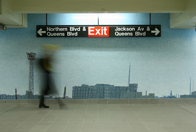 nycgov:  Did you know? The glass mosaics in Queens Plaza subway station depict the actual City skyline as seen from Queens. The sun in the mosaic marks the location of the former World Trade Center. For more interesting tips follow nycgov on Foursquare: foursquare.com/nycgov. Photo Credit: MTA Arts for Transit  This piece, Look Up, Not Down, was created by the wonderful artist Ellen Harvey.