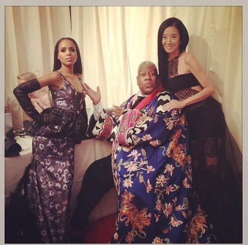 scandalmoments:  Kerry Washington with Andre Leon Talley and Vera Wang at the 2013 MET Gala. #WERK