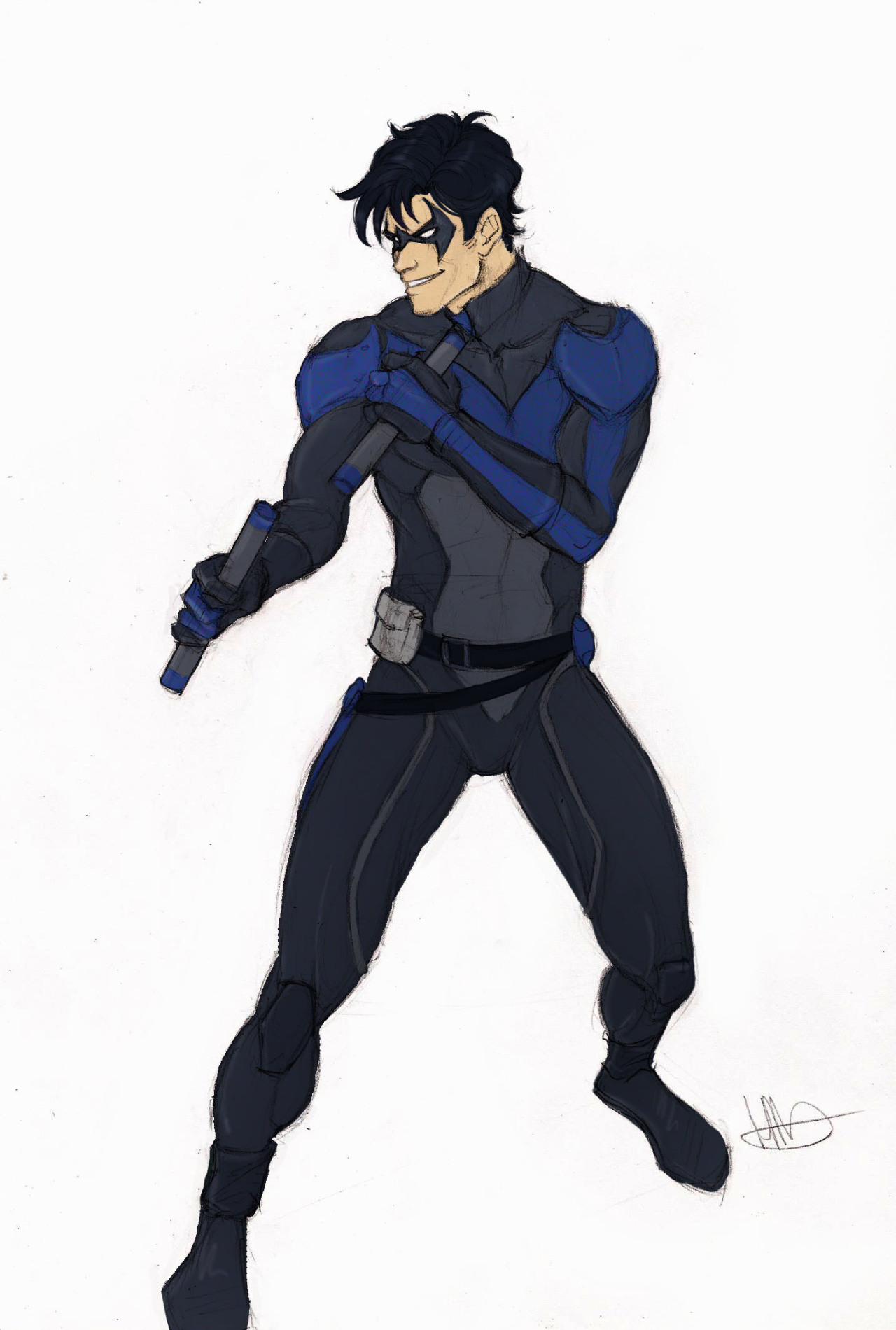 mechanicalmisha:  A quick color of the Nightwing sketch while I wait for my coffee.