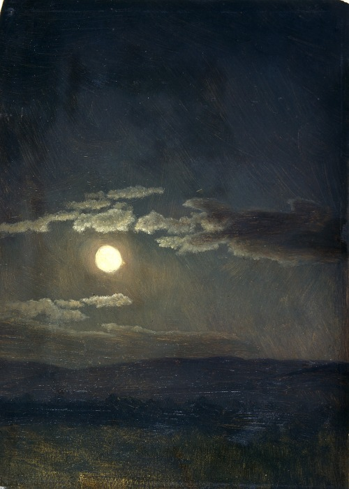 un:  (via colourthysoul) Albert Bierstadt - Cloudy Study, Moonlight (ca. 1860)