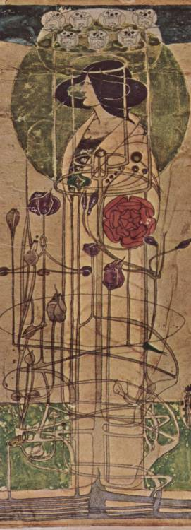 black-celluloid:  Charles Rennie Mackintosh a conceptual sketch done for a Teahouse wall mural in Glasgow c.1896-1897