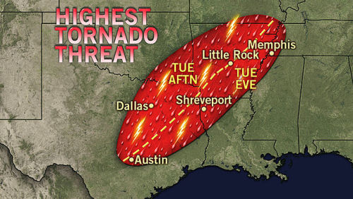 accuweather:     Dallas to Memphis at Greatest Risk for Tornadoes Tuesday  More severe weather is on the way for the southern Plains on Tuesday as well as parts of the Midwest and the Northeast.