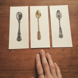pollyfern:  #spoons #silver #gold #paintings #drawing #pollyfern #watercolour #ink #illustration #art