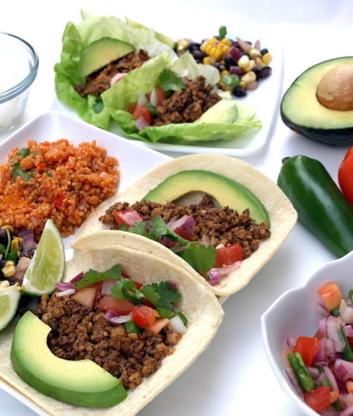 in-my-mouth:  Street Tacos, Spanish Fried Quinoa & Black Bean Salad