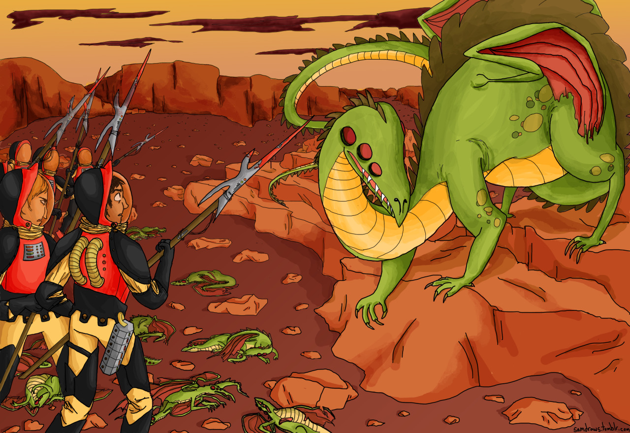 Space knights vs space dragons!!! Fullview it please! Illustration 2 assignment, we illustrated each others' short stories. Done and done! I am really really happy with how this turned but also extremely glad I don't have to work on it any more?? that is often how these things go, I find. Armor based off this sweet 1500s Italian gear and dragon inspired by this rad spinosaurus!