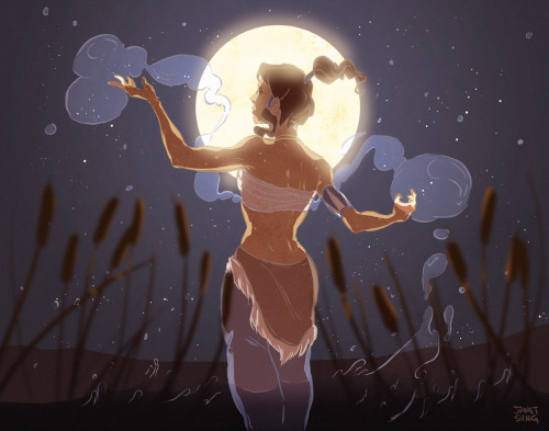 janetsungart:  Korra doing some water bending meditation to moonlight
