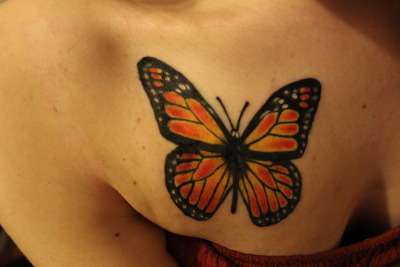 My monarch butterfly on my chest. First tattoo! Hopefully of many more to come. Done by Derek at the Living Canvas Tattoo in Winnipeg, Manitoba.