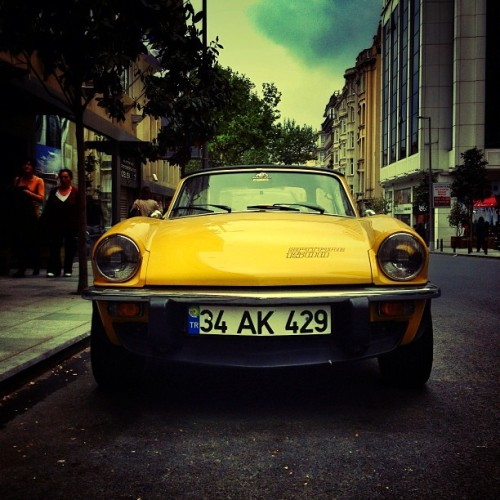#triumph #spitfire #car #vehicle #british #transportation #auto #street #streetphoto #streetphotography #iseefaces #road #old #instagramhub #hubstreets #yellow #gramoftheday #gotd #allshots_ #ampt #photooftheday #iphonesia #iphoneonly #iphonography #hot_shotz  (at Teşvikiye)