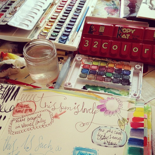 pampong:  #artjournaling with @dispatchfromla - always fun to learn of new pens & share supplies by pam garrison on Flickr.