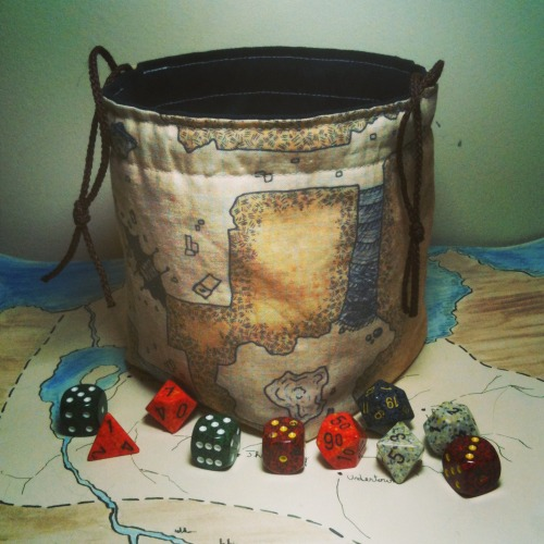 Classic Dungeon Map Dice Bag by Greyed Out(which is me).   These are available, along with lots of others, at Greyed Out - they seem to be really popular, so I'm including the link for people who want one.