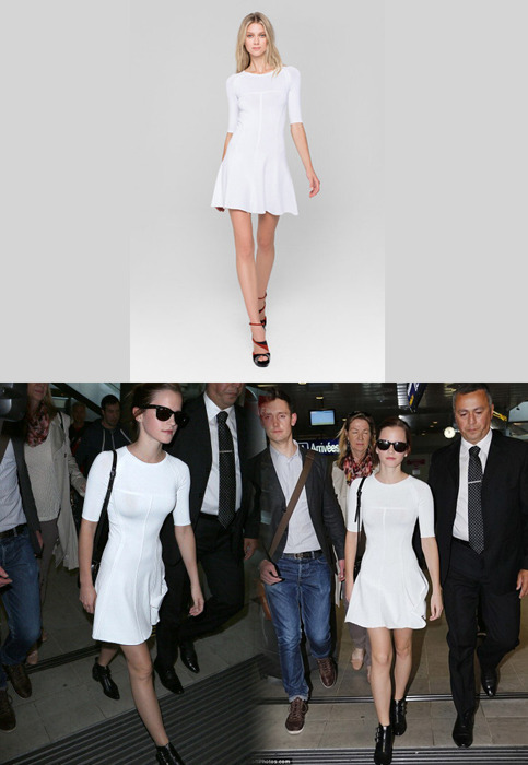 Emma wore an A.L.C. Spring 2013 3/4 Sleeve Dress arriving at Nice airport in France.Wore with: Ray-Ban Original Wayfarer 2140 Sunglasses & Tabitha Simmons 'Early' Ankle Boots