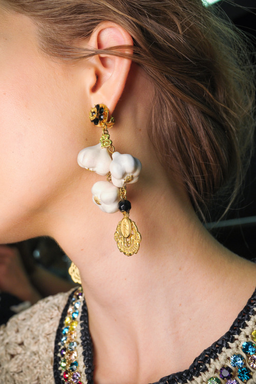 girlannachronism:  Dolce & Gabbana spring 2012 rtw backstage  Is purposeful obscurity becoming trendy? Is garlic the new mustache? Oh well, I would rock these.