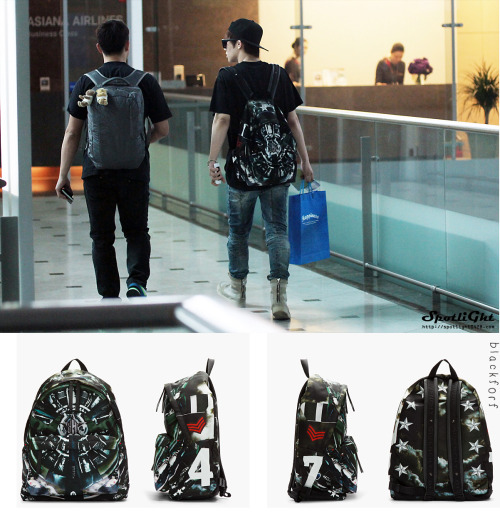 blackforf:  130522 Sunggyu INFINITE - Backpack (AT Incheon Airport )  GIVENCHY Black Leather Trimmed Airplane Print Backpack - $1135 (= 33807.12 baht ) -DO NOT EDIT PLEASE TAKE OUT WITH CREDIT - [image source : spotlight ] Cr. BLACKFORF Please accept my sincere apology in advance for any mistake that may occur