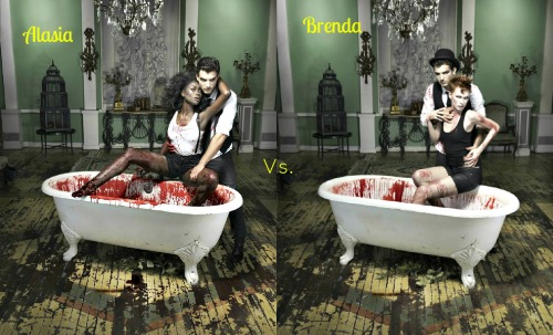topmodelversus:  Who's vampire shot do you like better ? Alasia's or Brenda's ?