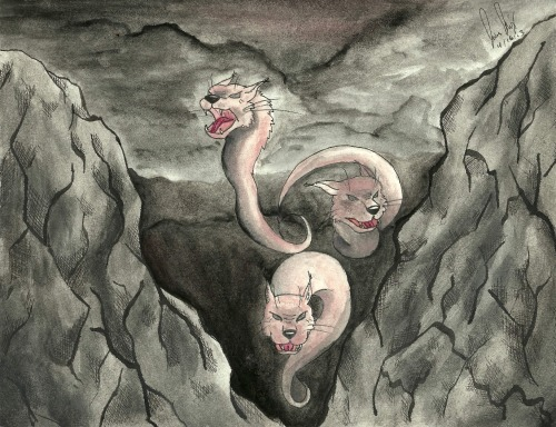 jbcrart:  Wrath (2013) Watercolor Experimenting with ink and watercolors. This was actually the first time I had ever used a quill and ink before… It was strange, to say the least.  I was overall fairly please with how the watercolor came out. However, I'm a bit unsatisfied with the cats— Some of the highlights and shadows could have been much more impressive, I feel, and there's a few other small things… but, as previously mentioned, I'm content with this piece.