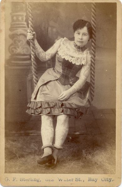 "ca. 1880, [cabinet card portrait of Ann Howard, the ""Tattooed Lady""], G.F. Sterling via  Syracuse University Library, Special Collections Research Center, Ronald G. Becker Collection of Charles Eisenmann Photographs"