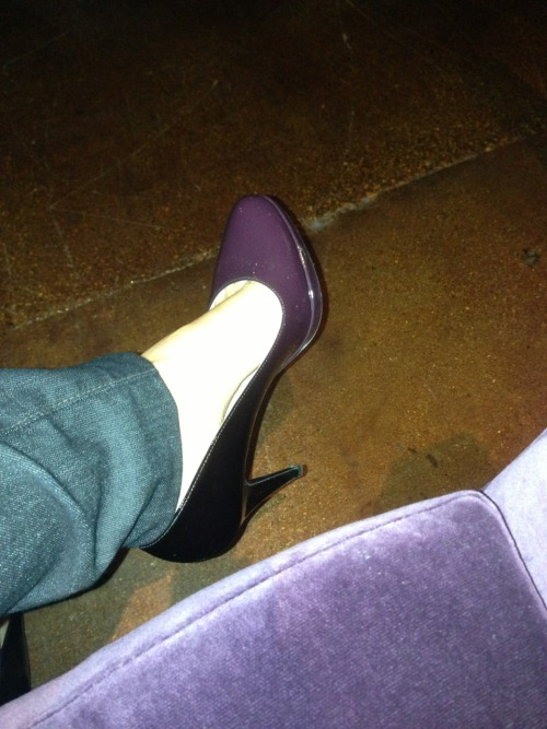 Purple ombré shoes match the couch! At Untitled.