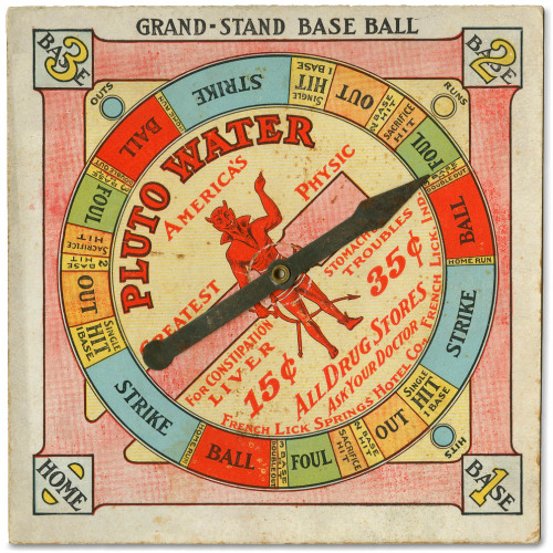 the-two-germanys:  Pluto Water grand-stand baseball spin-game.French Lick Springs Hotel Co. French Lick, Ind.