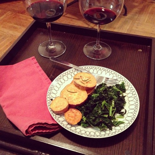 peterwknox:  I worked late and Andrea made me a dinner!  sliced roasted sweet potato and lemony kale. It was pretty damn delicious.