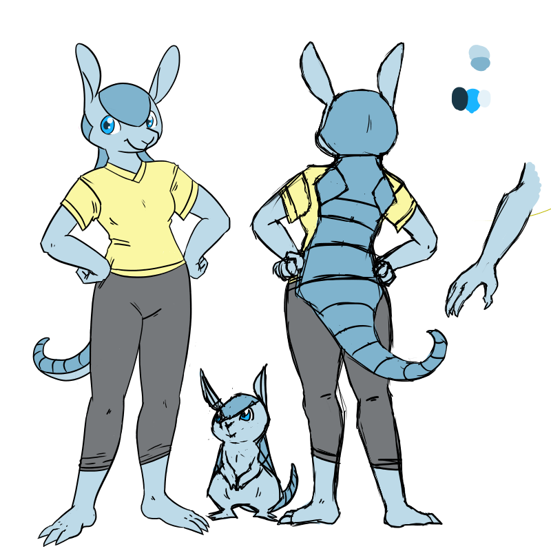 Mizumew reference, yay! I can't draw my real self accurately/on model enough to meet my standards, so I go for a blue Armadillo instead c:  And then my attempt at making a shell for a bipedal Armadillo.