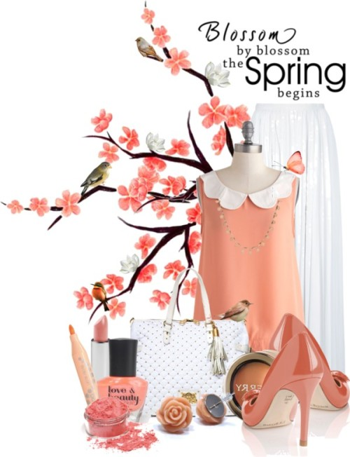 Blossom by Blossom The Spring Begins by queenrachietemplateaddict featuring a peach nail polishPleated skirt, $1,200 / Scalloped Peaches Top / L.K.Bennett high heels, $280 / Juicy Couture zip top tote / FOSSIL peach necklace / Clay earrings / Body art, $3.01 / By Terry nude cosmetic / Becca Cosmetics sheer makeup, $52 / POP  cosmetic / Pink blush / Forever 21 peach nail polish