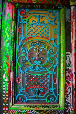 Colorfull painted metal door grille, Paris