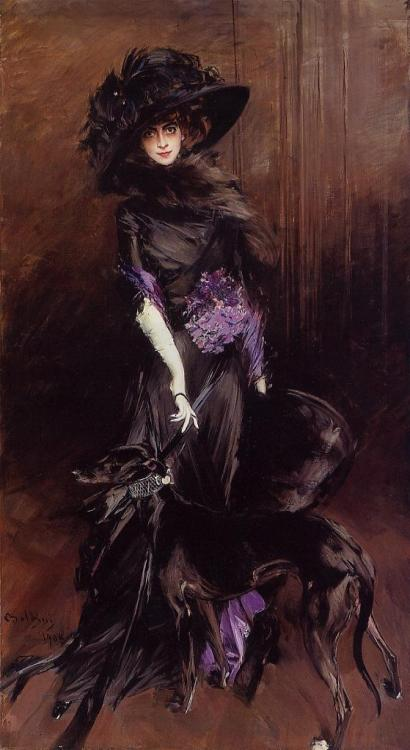 Portrait of Marchesa Casati by Boldini. Dress by Poiret.