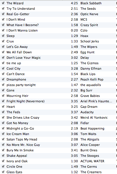 Hey boiz and ghouls, here is the playlist so far on my radio show today.   Starting now till 6pm central. Tune in.