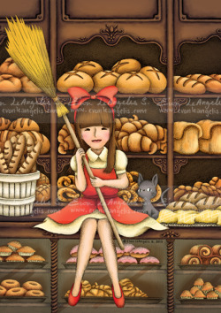 "13 May 2013The Bakery Love Inspired from ""Kiki's Delivery Service"" by Hayao Miyazaki. The scent of the bread and the lovely deco, just a different girl. Not Kiki this time, but a lovely lady whose birthday is around the corner. =) Happy Birthday to this lucky girl who is getting this illustration as a birthday gift!  The lighter brown was chosen for print instead. However, I love the contrast of the bread against the dark wooden furniture."