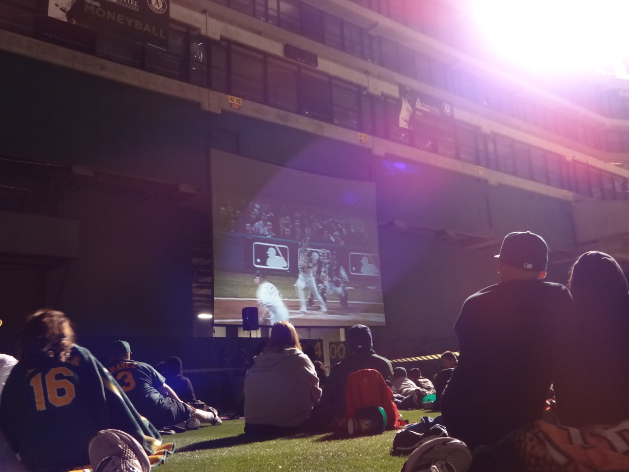 So yes, those are fans watching Moneyball where Moneyball was filmed where the defining moments of Moneyball took place.  Aug 19, 2012 Oakland Coliseum