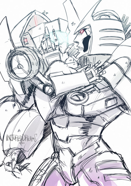 injureddreams:  Dedicated to my friend starscream88 who wanted some Cyclonus and Tailgate. Drawing Robots is hard guys, but a fun challenge regardless. ♥